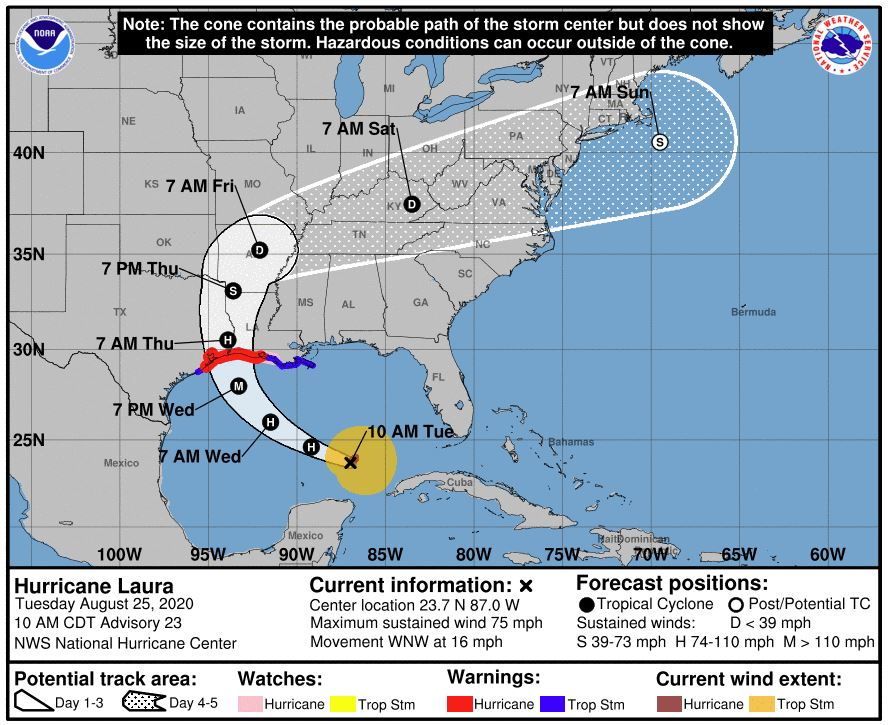 Cone for Hurricane Laura as of 8/25/20