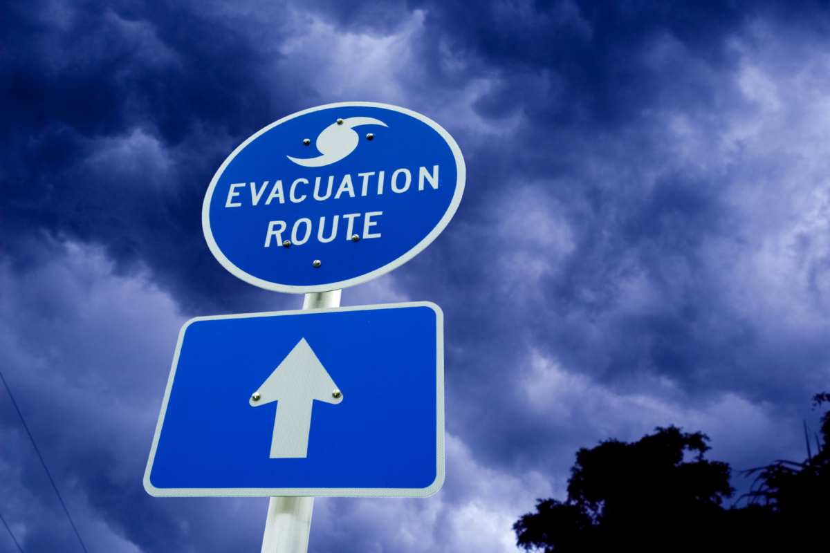 Hurricane evacuation route signage