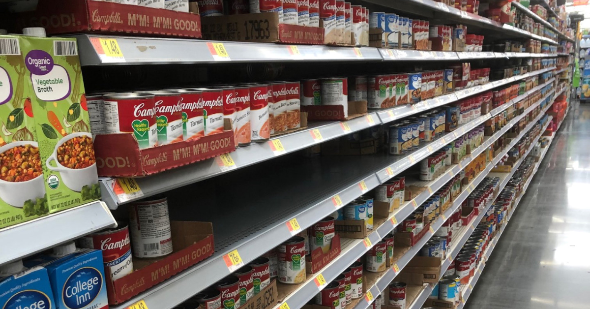 The canned soup aisle at Walmart.