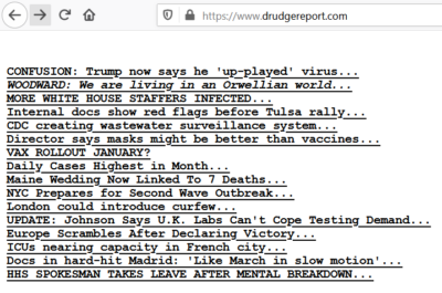 Drudge Focuses on COVID-19