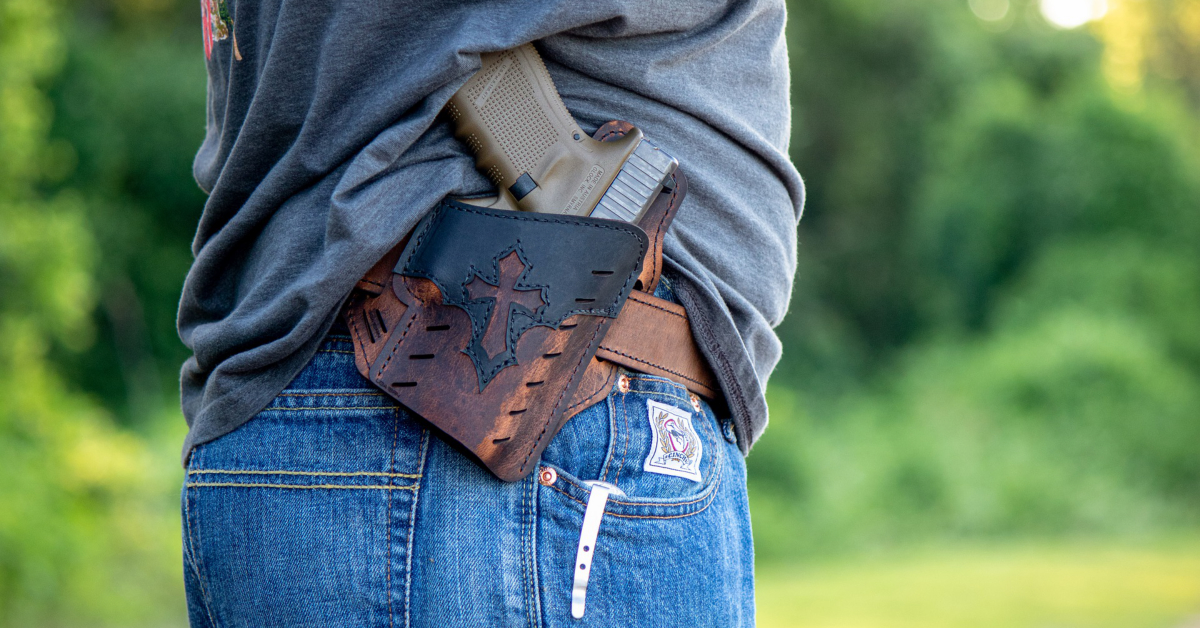 A concealed carry pistol in a holster