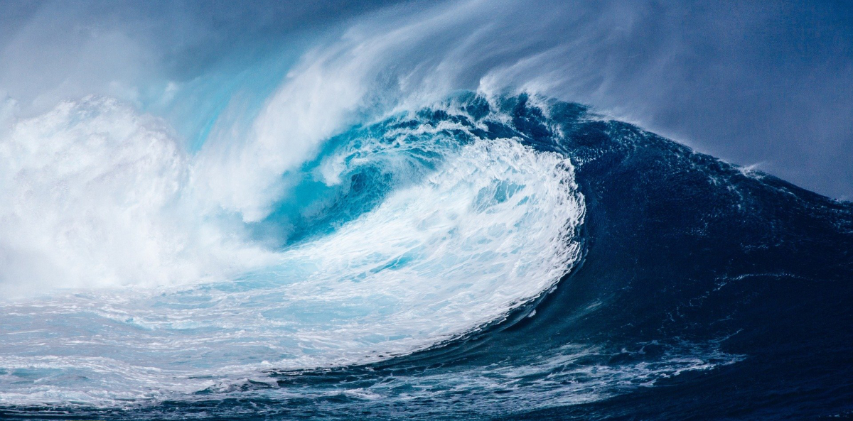 A wave kicked up by a storm