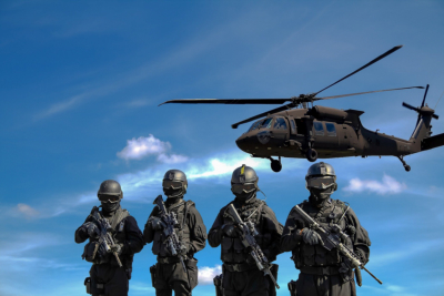 black helicopter and a team in tactical gear