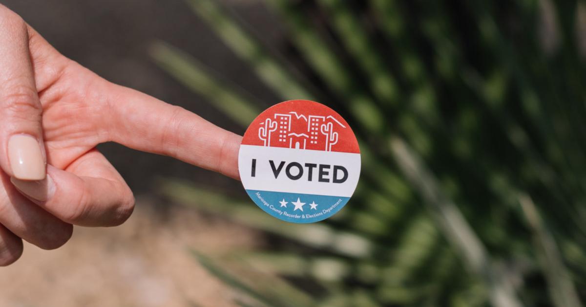 I voted sticker. Photo by Phillip Goldsberry on Unsplash