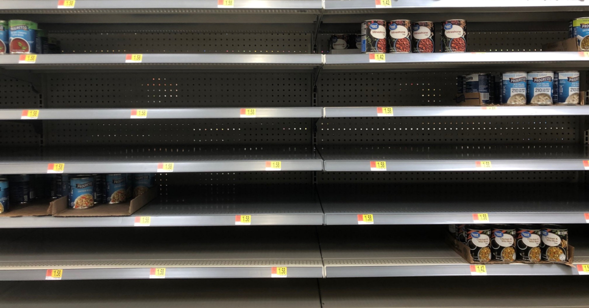 An empty soup shelf from May 2020