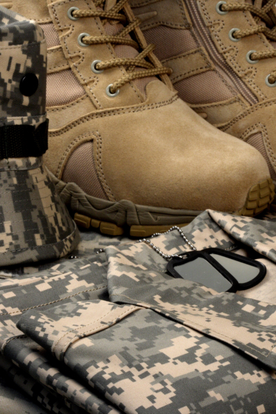 military boots and uniform