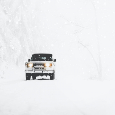 Toyota truck in snowy weather