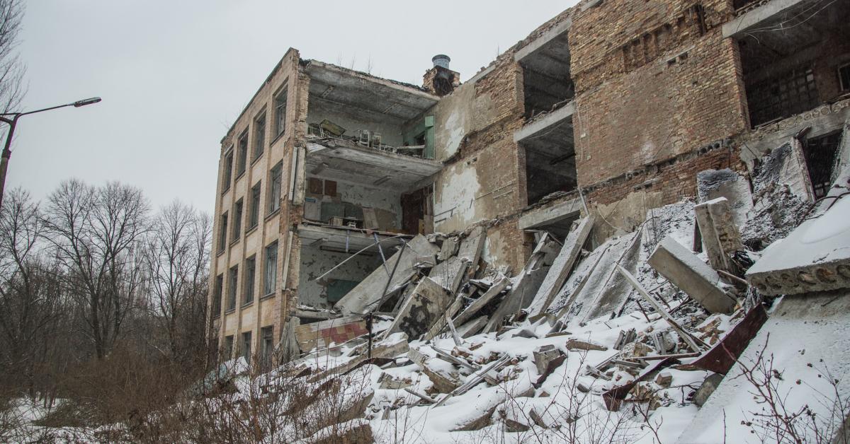broken down Soviet building