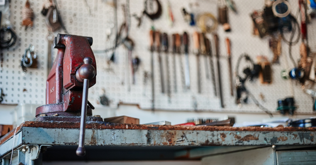 A work bench with tools