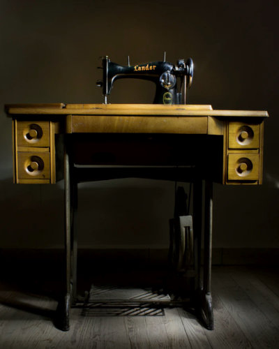 A treadle sewing machine