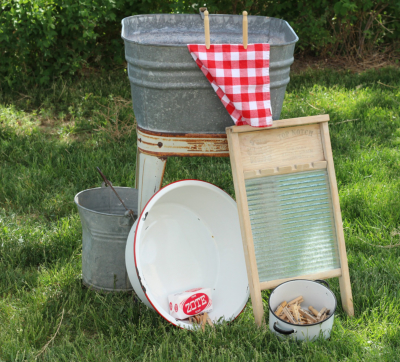 An old fashioned laundry set up