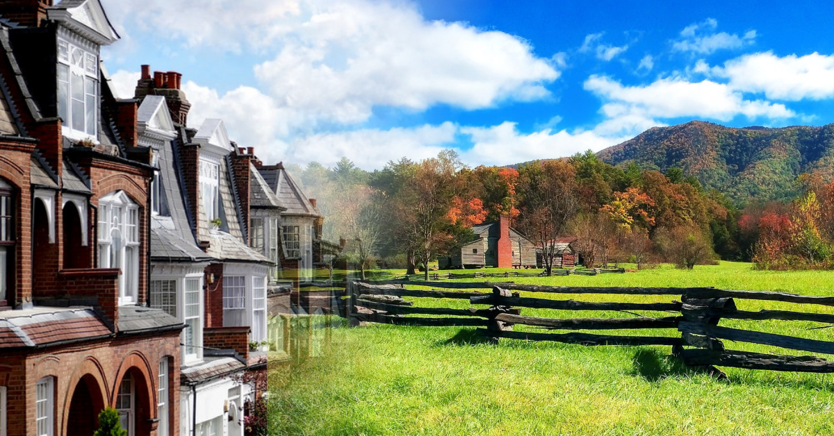 Comparing an urban row house to a country homestead