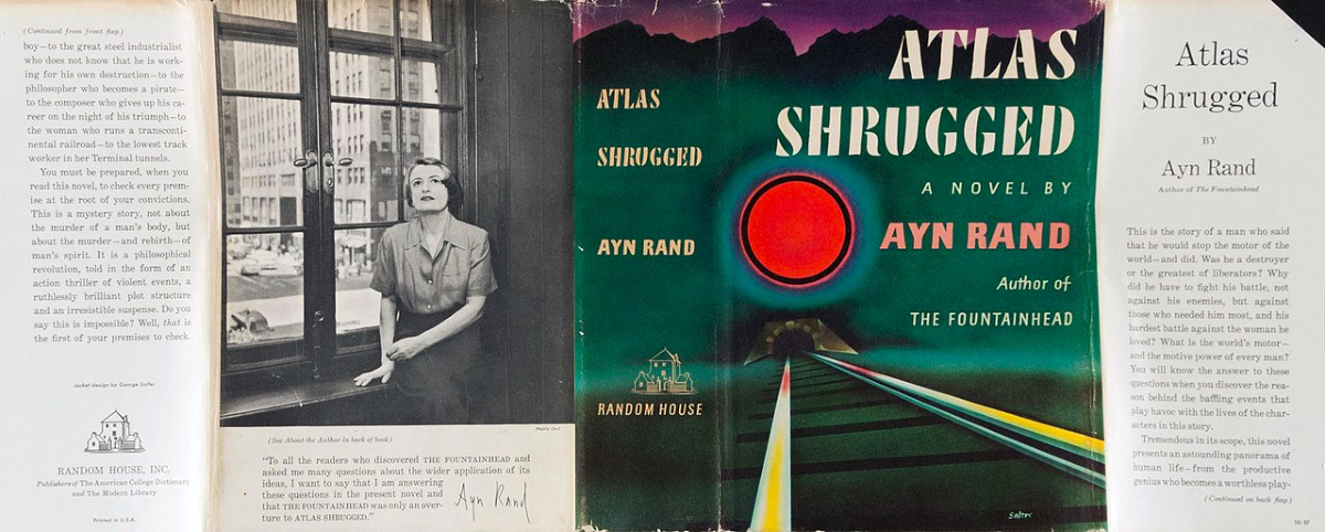 This is the jacket cover of the first edition of Atlas Shrugged by Ayn Rand.
