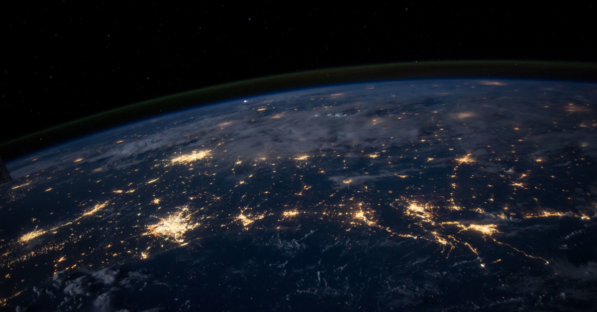 The earth seen from space at night. Image from Pixabay.