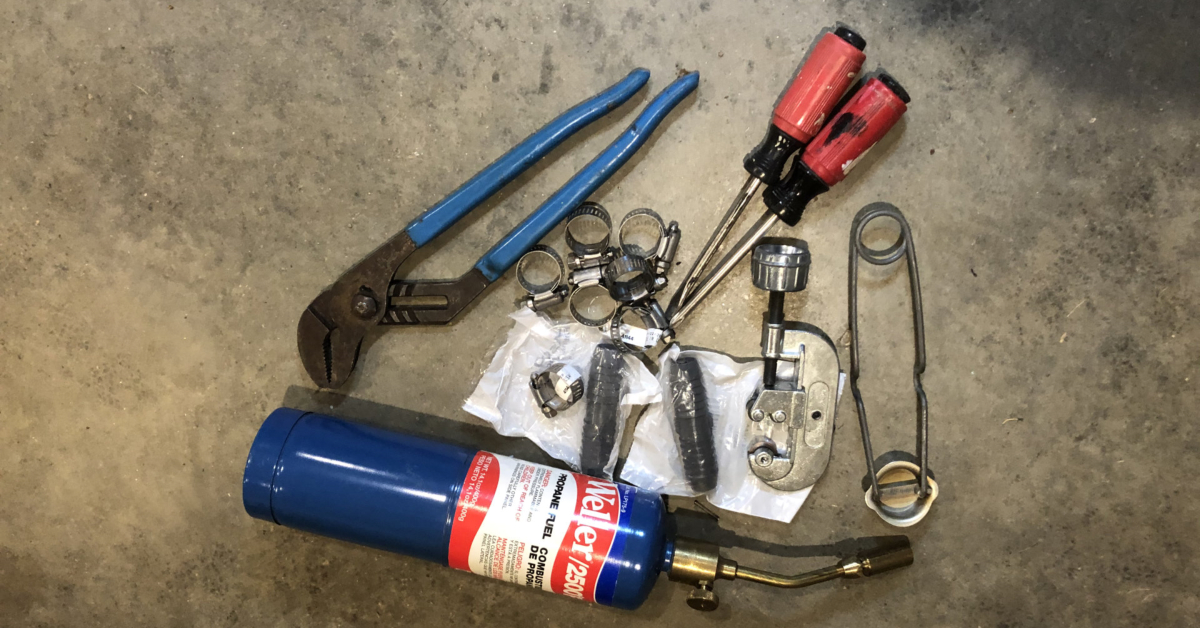 These are the tools I carried to repair what I assumed was a broken pipe.