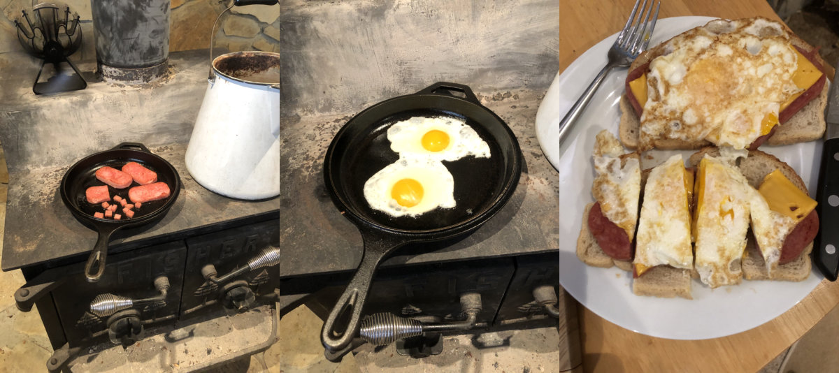 Spam and eggs cooking on our wood stove.