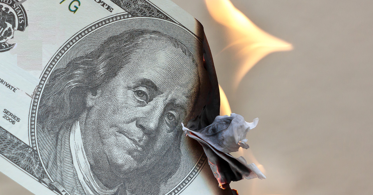 Burning $100 bill