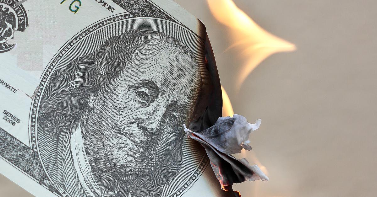 Burning $100 bill