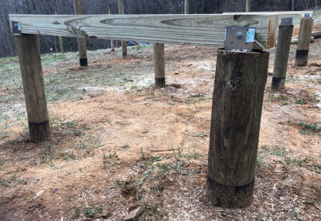 Leveled support posts and beams for our chicken coop