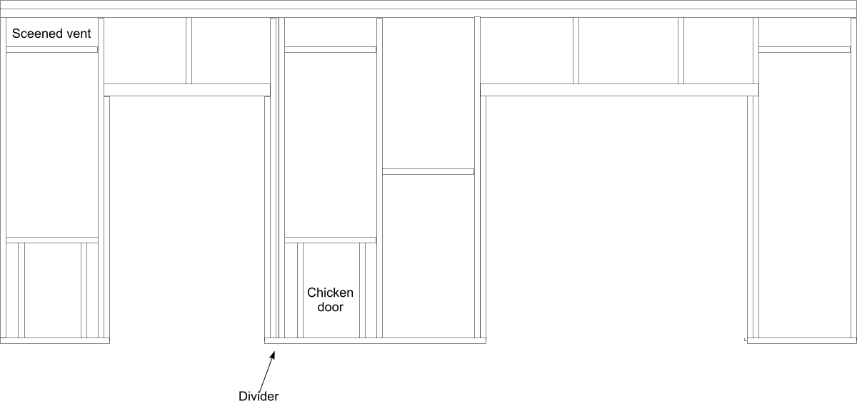 Framing diagram for the front of our chicken coop