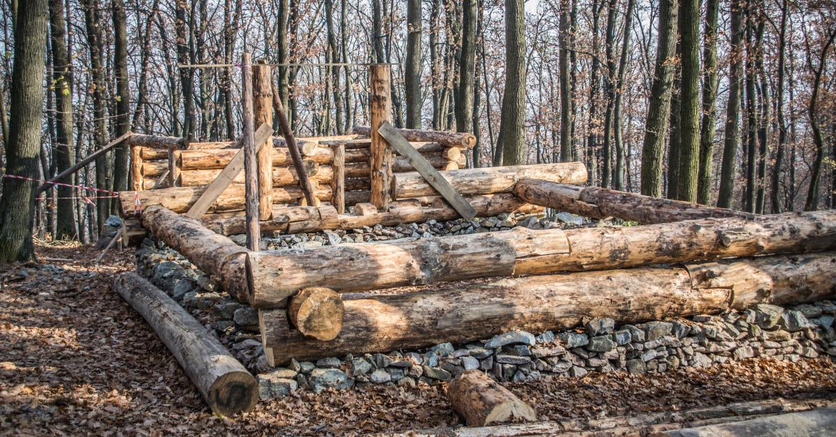 A log cabin under construction.