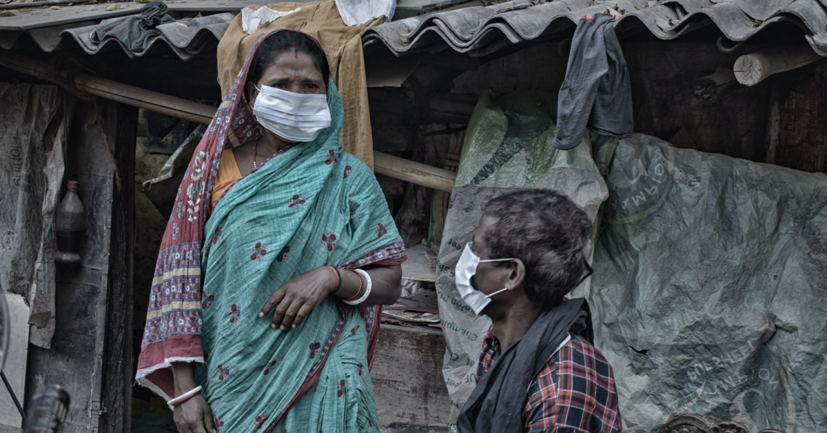 Indians wearing face masks