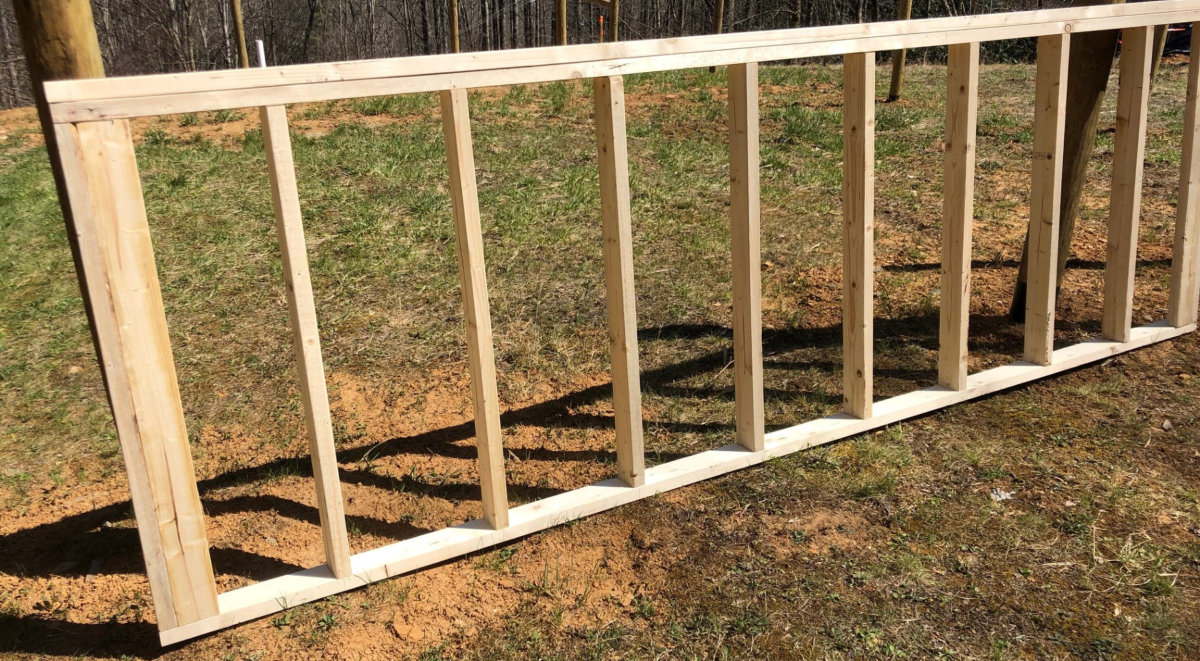 Framing of the 12'x4' rear wall is complete.