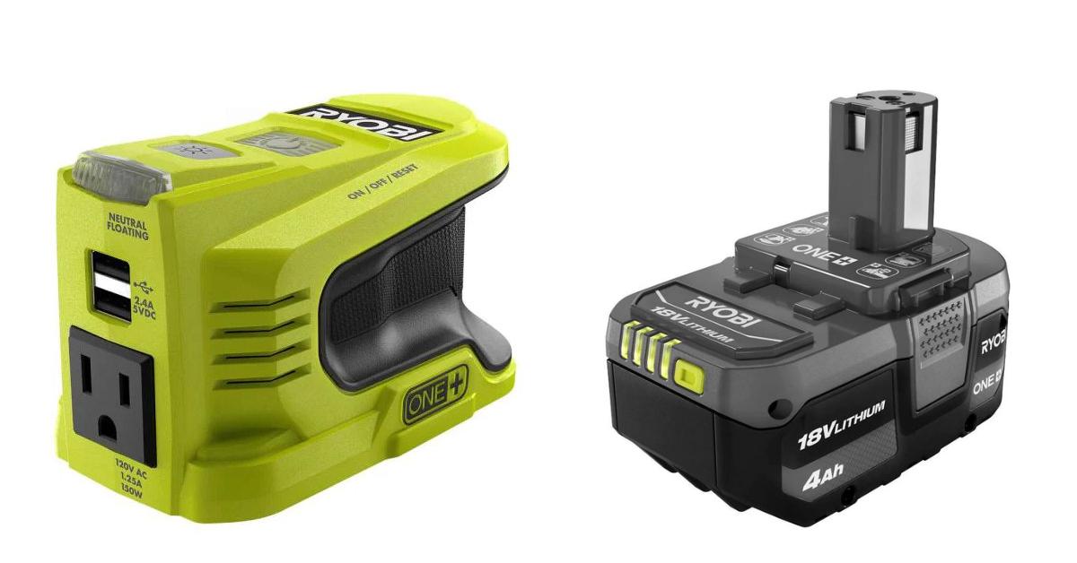Ryobi inverter and 18-volt battery