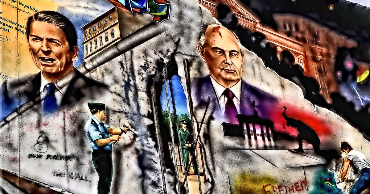 A mural celebrating the fall of the Berlin Wall and the collapse of the Soviet Union