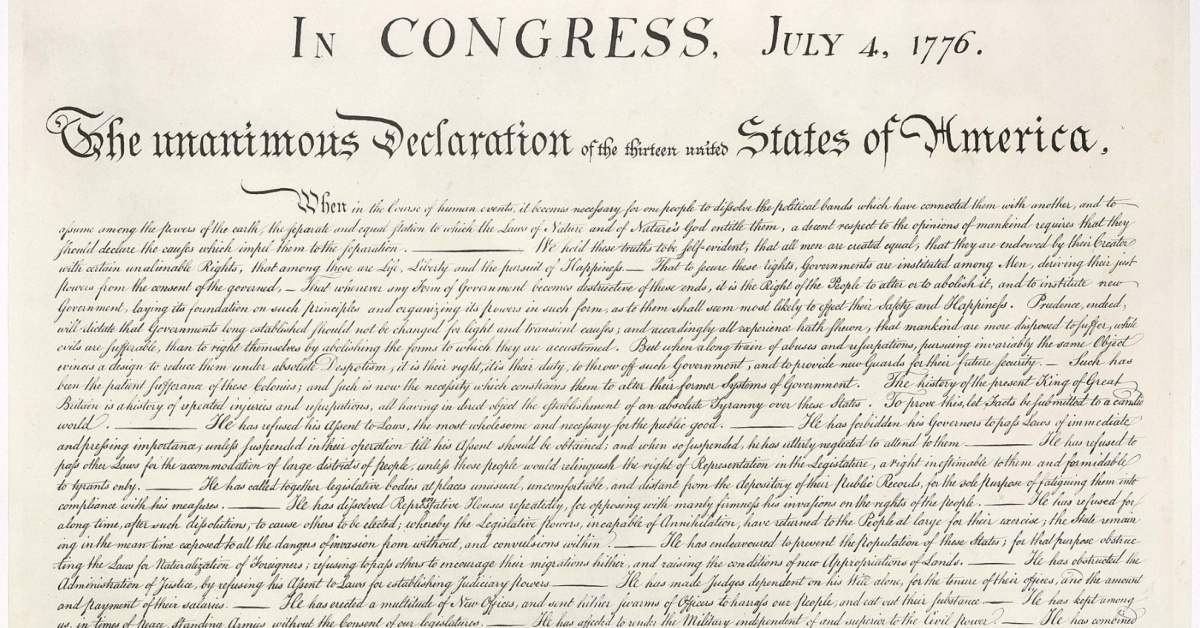 The first portion the the Declaration of Independence