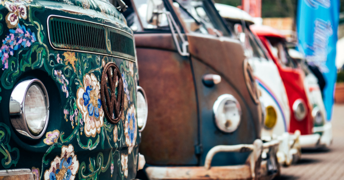 VW minibus with hippie motif
