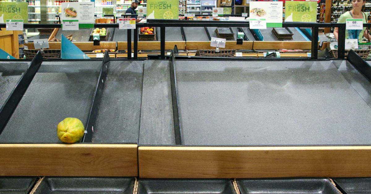 Empty shelves at a Florida grocery store due to shortages. Photo by Mick Haupt on Unsplash.