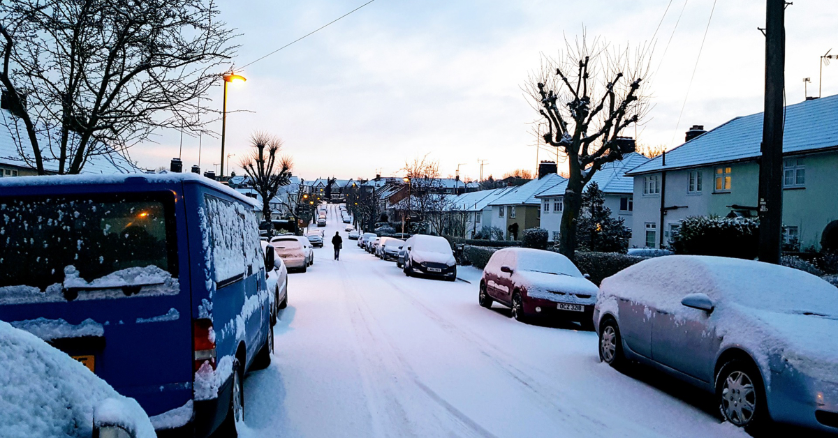 A London street covered in snow.