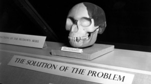 In this photo, see the title?  The Solution of the Problem.  Piltdown was considered to be real proof of evolution for decades.