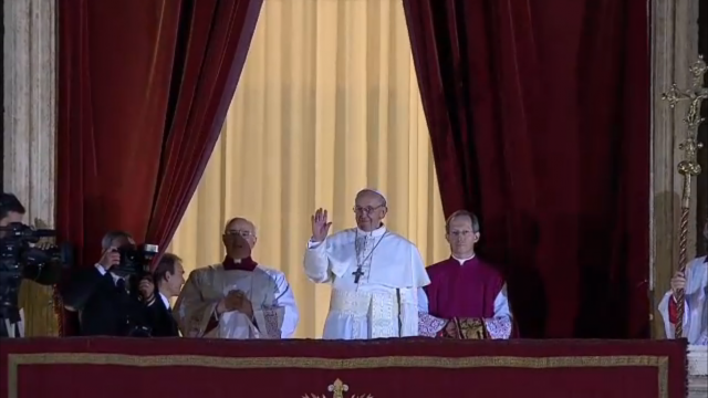 Pope Francis' first public outing.
