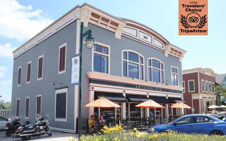 Artisan 179 restaurant front featuring ribbon of TripAdvisor 2020 Travelers' Choice Award