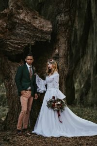 Bell sleeves fairy tale wedding gown