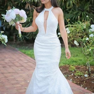 beautiful bride in the court yard