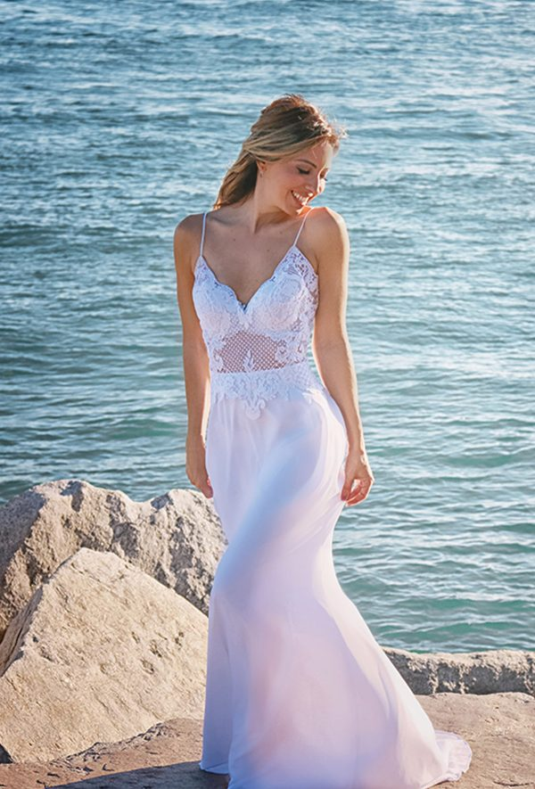Lace Top Chiffon Bridal Gown