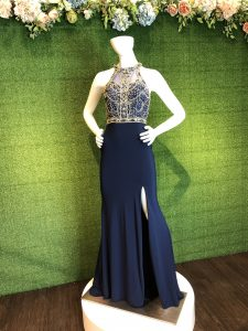 Navy Blue Beaded Formal Gown