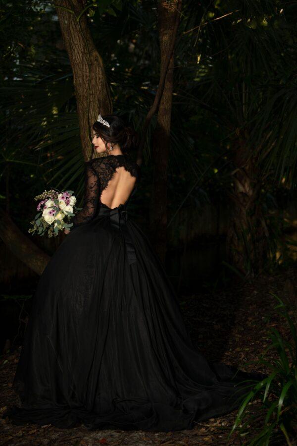 Ball gown black wedding dress