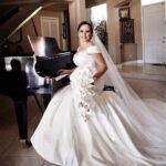 Unique custom made off the shoulder wedding dress