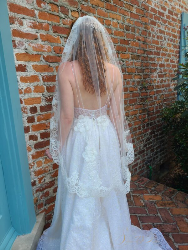 bride stading with a lace veil