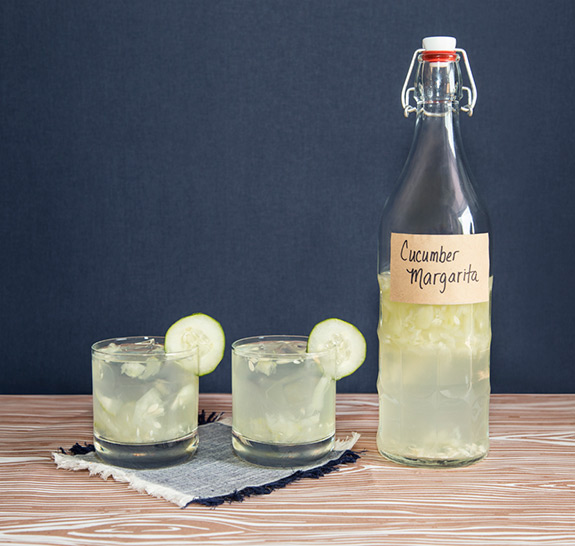 Homemade DIY Cucumber Margarita Cocktail in a Bottle