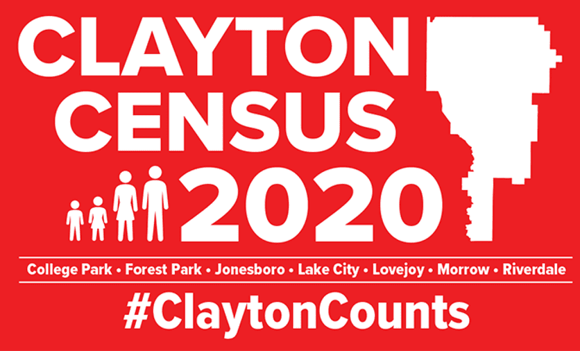 Clayton County Census 2020 flyer for College Park, Forest Park, Jonesboro, Lake City, Lovejoy, Morrow, and Riverdale, hashtag Clayton Counts