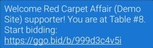 GreaterGiving Instruction on clicking on the text message you receive from the Auction website