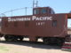 A caboose on display in Tombstone, Ariz.