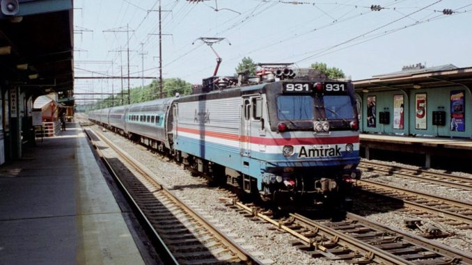 An Amtrak train passes through Metuchen, N.J., in 2003. (Photo by Todd DeFeo)