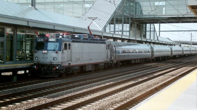 An Amtrak trains passes through the Newark Liberty International Airport trains station in Newark, N.J., in 2003.