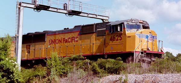 A Union Pacific locomotive pulls a train through Chattanooga, Tenn.